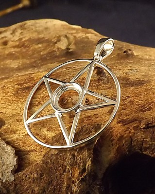 Silver Pentagram Pendant For 8mm Cabochon