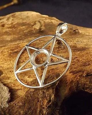 Silver Pentagram Pendant For 8mm Cabochon