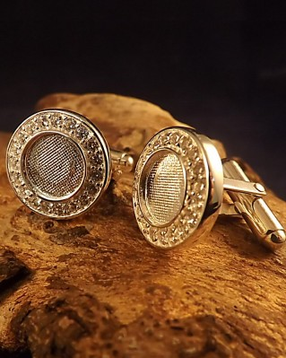 Stunning Silver Cufflink With CZ For 10mm Stone