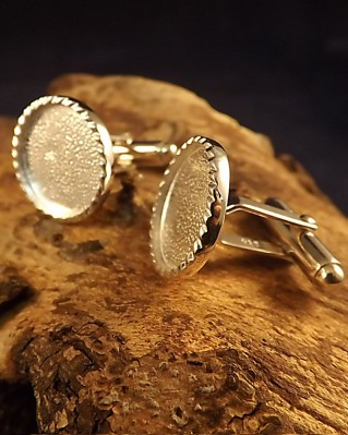 Silver Cufflinks For 16mm Stone Or Resin