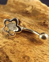 Silver Flower BellyButton Bar For 5mm Cabochon
