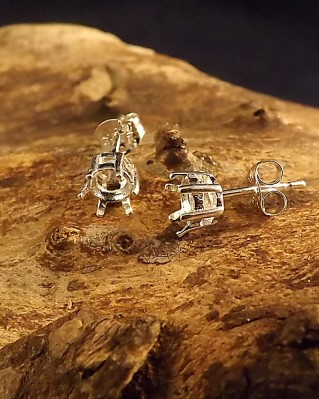 Silver Stud Earrings To Fit 5mm Facetted Stone