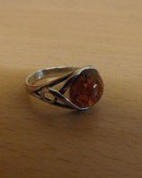 SILVER AND AMBER RING