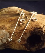 Dangly Silver Studs For 6mm Cabochon