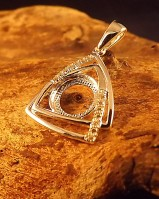 Modern Silver Pendant Mount For 8mm With CZ