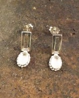 Silver Drop Earring Setting For 6x4 Stone