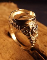 Gents Embossed Silver Signet Ring For 14x10 Stone