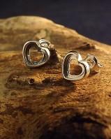 Silver Heart Stud Mounts Suitable Stones
