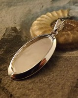 Large Oval Solid Back Pendant Setting Great With Resin or Stones