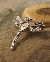 Silver Dragonfly Brooch To Fit 7x5 Cabochon