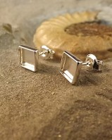 Square Silver Earring Setting Approx 6mm