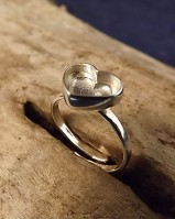 Adjustable Heart Ring Solid Back