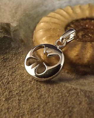 Silver Pendant For 13mm Cabochon With Butterfly Cut Out