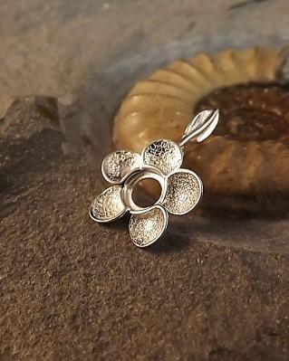 Silver Flower Pendant For 6mm