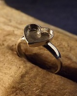 Solid Back Silver Heart Ring
