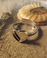 Adjustable Silver Heart Ring Setting For Resin