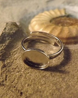 Adjustable Silver Ring Setting For Resin Or 10X8 Cabochon