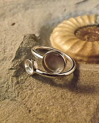 Silver Two Stone Adjustable Ring Mount For Cabochons Or Resin
