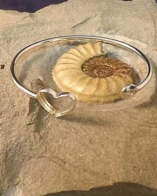 Silver Bangle With Heart Shape Bezel and A CZ