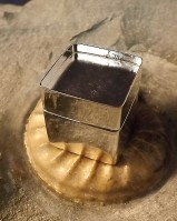 Square Silver Pill Box with Bezel Top For 18MM Stone Or Resin