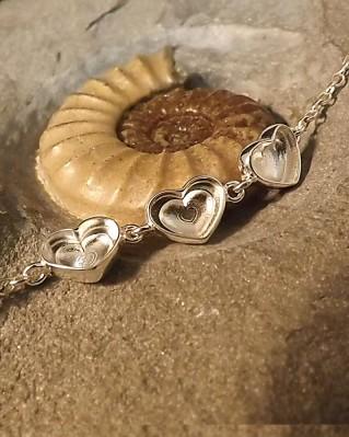 Three Stone Heart Bracelet