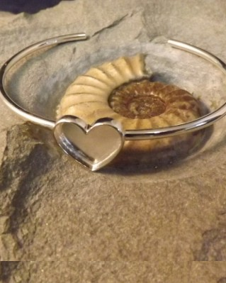 Silver Solid Back Heart Bangle Setting Great with Resin
