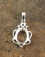 10x8  Silver Pendant Setting for cabochon