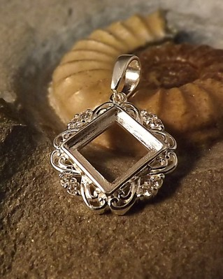 Square Pendant With cz For 10mm