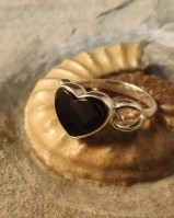 HEART RING WITH BLACK STONE
