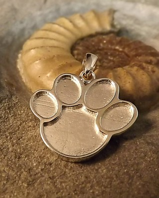 Silver Animal Paw Print Pendant Great for Resin