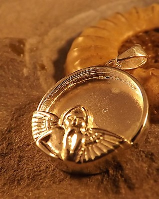 Silver Angel Pendant For Resin Ashes Memorial