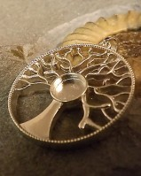 Silver Tree Of Life Pendant Setting To Fit 10mm Cabochon Or Resin
