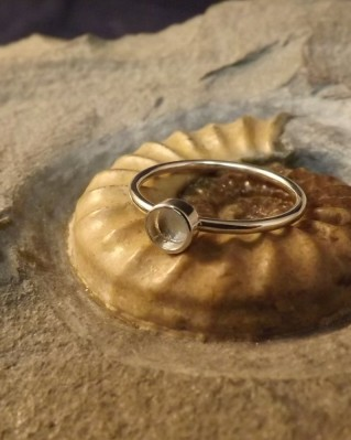 Silver plain ring for 4mm Cabochon or resin