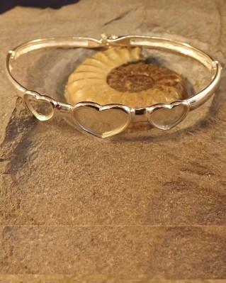 Silver Three Heart Solid Back Bangle