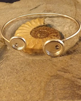 Solid Silver Bangle For 10mm And 8mm Cabochons