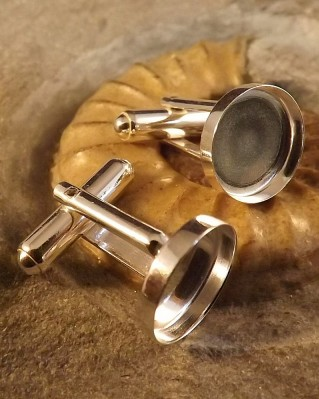 Solid Silver Cufflinks For Approx 12MM Cabochon