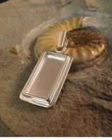 Solid Back Silver Rectangular Pendant Approx 10x22