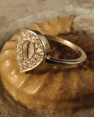 Tear Drop Ring With CZ