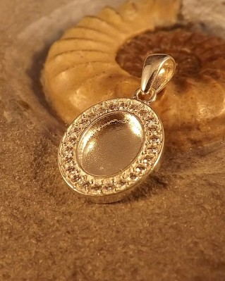 Stunning Silver Pendant For 10x8 with CZ Surround