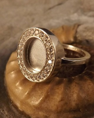 Stunning Silver Ring To Fit 10X8 With CZ Surround