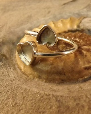 Double Heart Adjustable Silver Ring